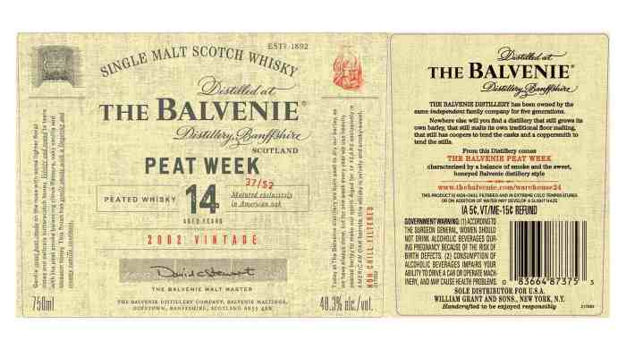The Belvenie, Peat Week, Aged 14 years.